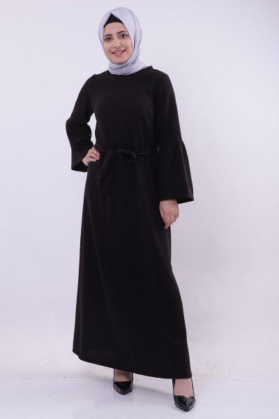 Bel Kuşaklı Kol Volanlı Elbise