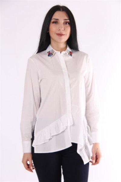 Koton Yaka İşlemeli Gömlek 9kak63260ew