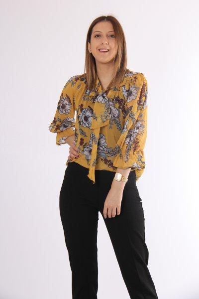 9kak63711ew Koton Sarı Desenli Bluz