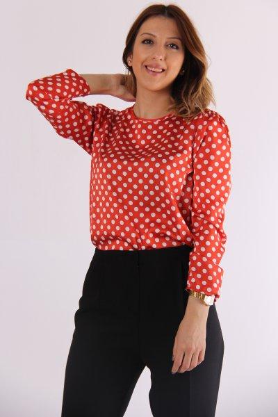 9kak63727ew Koton Kırmızı Desenli Bluz