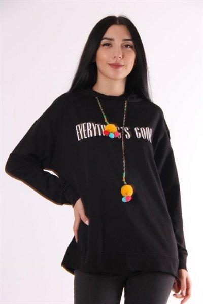 Kapüşonlu Yazılı Sweatshirt 5646