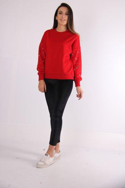 İnci Ve Taş Detaylı Sweatshirt 22918