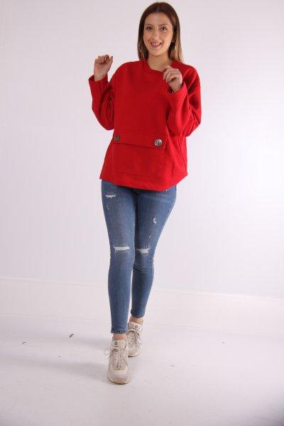 Cep Detaylı Sweatshirt 23125