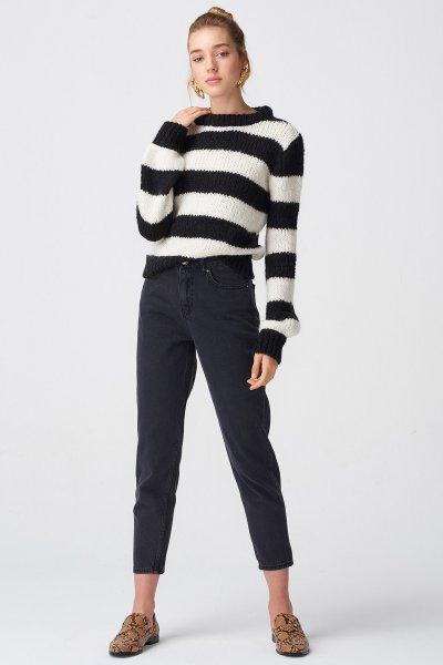 Dilvin Siyah Mom Pantolon 7582