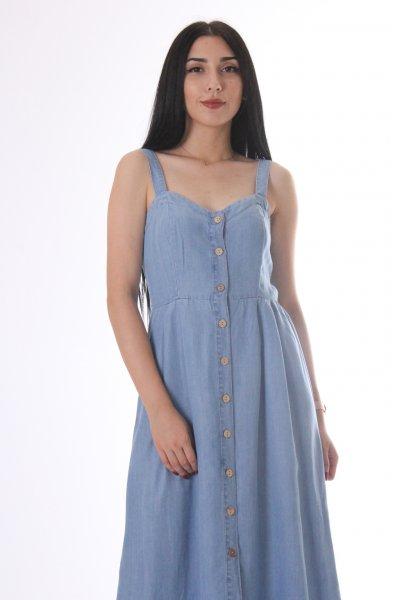 Dilvin Kalın Askılı Düğmeli Elbise 9762