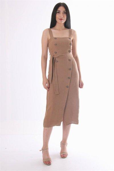 Dilvin Düğme Detaylı Askılı Elbise 9909