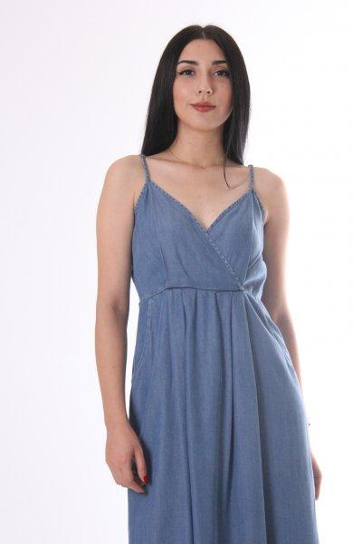 Yanları Cepli Tencel Elbise 9760