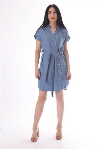 Dilvin V Yaka Tencel Elbise 9759