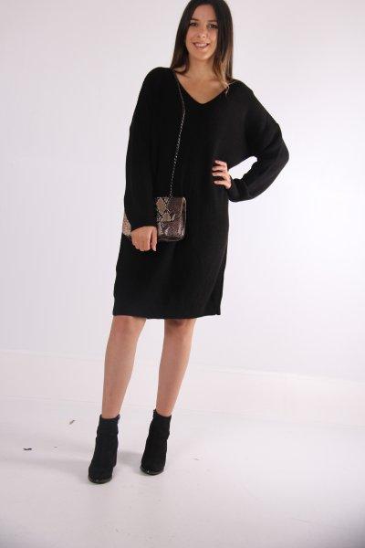 Dilvin V Yaka Arkası Tiktaklı Elbise 2199