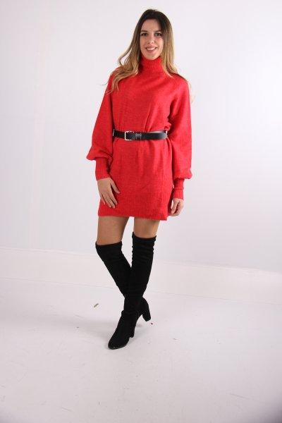 Dilvin Balıkçı Yaka İtalyan Kol Elbise 2249