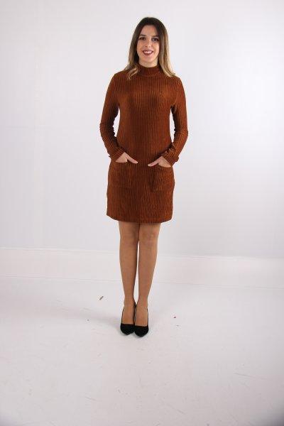 Dilvin Cep Detaylı Kadife Elbise 9927