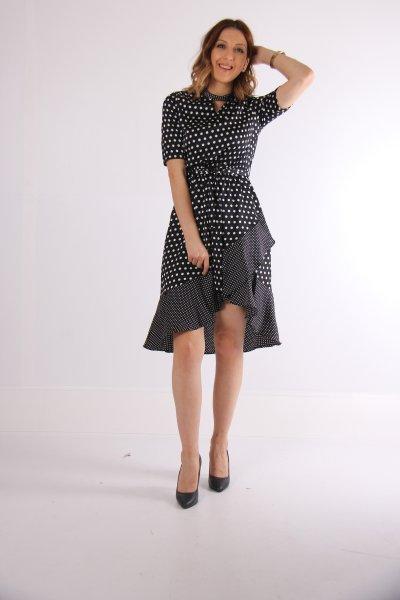 9kak88887pw Koton Siyah Desenli Elbise