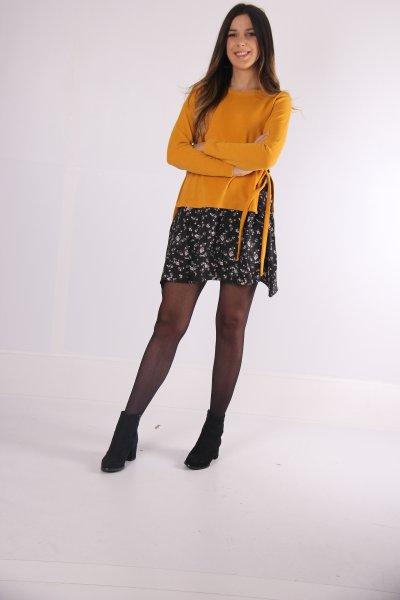 Belden Bağcıklı İki Renkli Elbise 22993