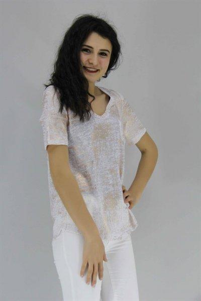 20087 Onteks V Yaka Yaldızlı Bluz