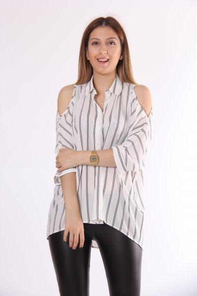 Koton Çizgili Klasik Yaka Omuz Detaylı Gömlek 8yak68269ow