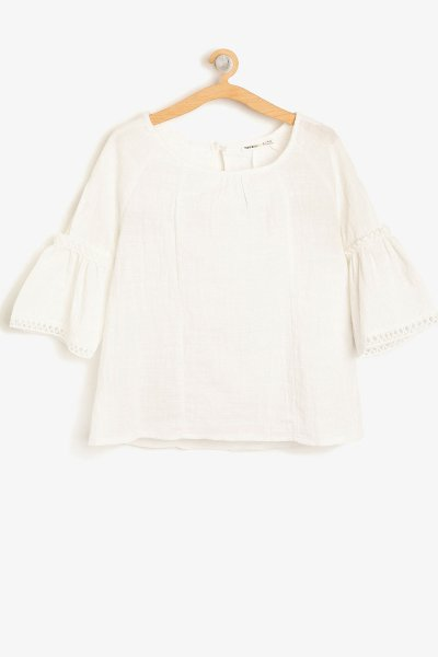 Koton Kol Detaylı Bluz Ekru 8ykg67693ow