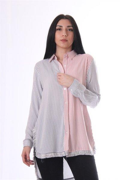 Çizgili Uzun Gömlek - 8968
