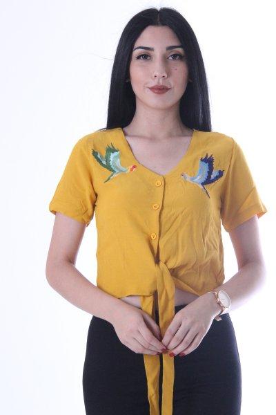 Kuş İşlemeli Bel Bağlamalı Bluz 9225