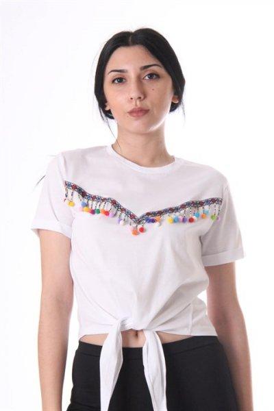 Önü Ponpon Detaylı Beli Bağlamalı T-shirt 18397