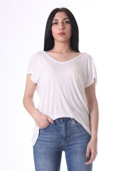 Koton Oyuk Yaka T-shirt Ekru 8yak13872gk