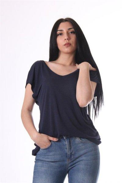 Koton Oyuk Yaka T-shirt Lacivert 8yak13872gk