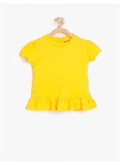 Koton Fırfır Detaylı T-shirt Sarı 8ymg19468zk