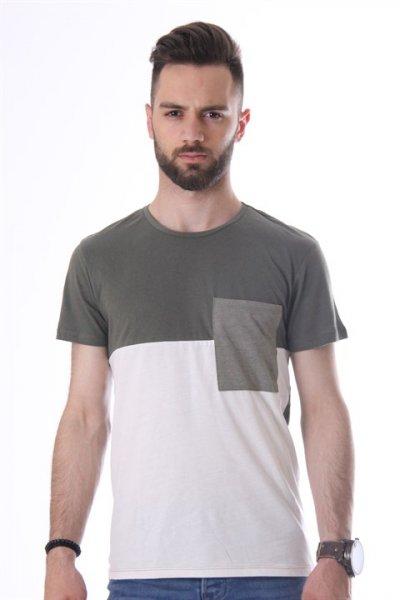 Koton Renk Bloklu T-shirt Yeşil 8yam14191ok