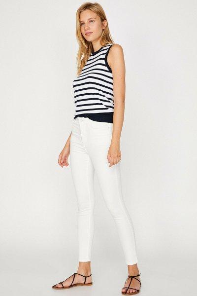 8yak47117dw Koton Beyaz Pantolon