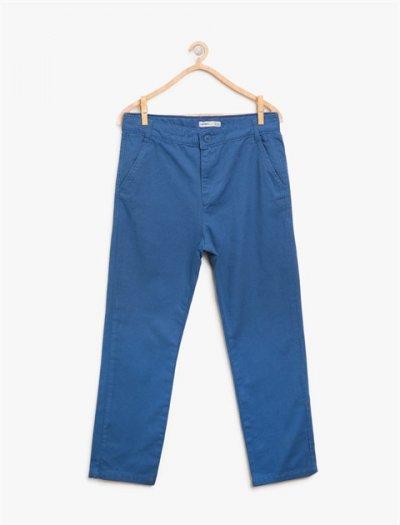 8ybb46405ow Koton Mavi Keten Pantolon