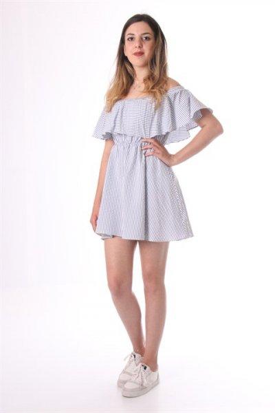 Alerli Kısa Çizgili Elbise - 30383