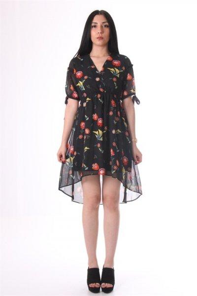Önü Kruvaze Çiçekli Elbise - 30585