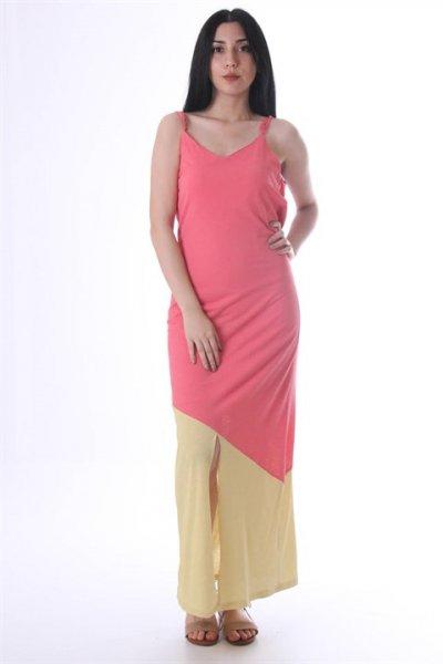 Omuzu Askılı Etek Ucu Renkli Elbise 30643