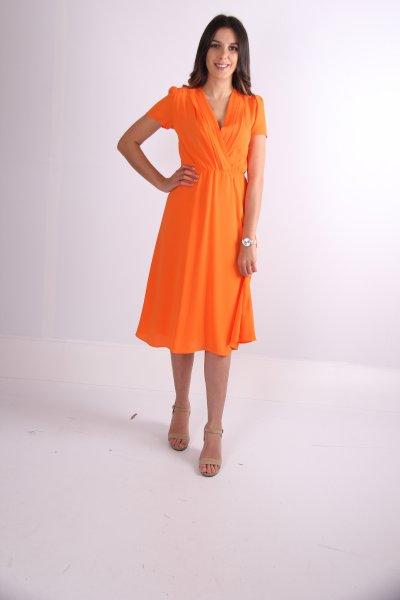 Önü Kruvaze Beli Lastikli Elbise 30610