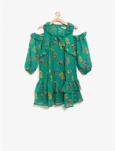8ykg87966aw Koton Çocuk Yeşil Elbise