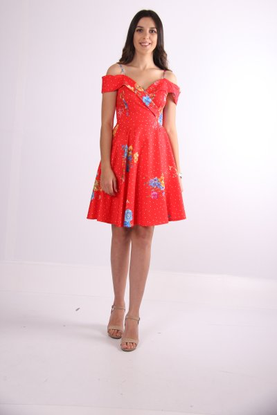 Omuz Detaylı Çiçekli Elbise - 69095