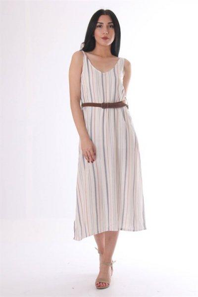 Omuzdan Bağlamalı Kemerli Elbise 9194
