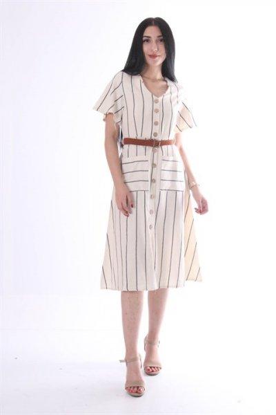 Kemerli Düğme Detaylı Elbise 9204