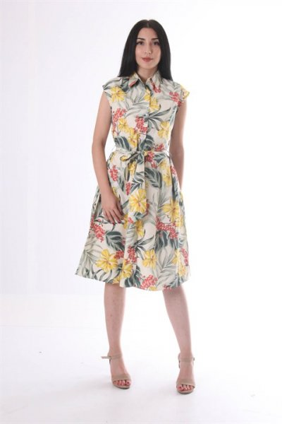 Bel Bağlamalı Desenli Elbise 9157