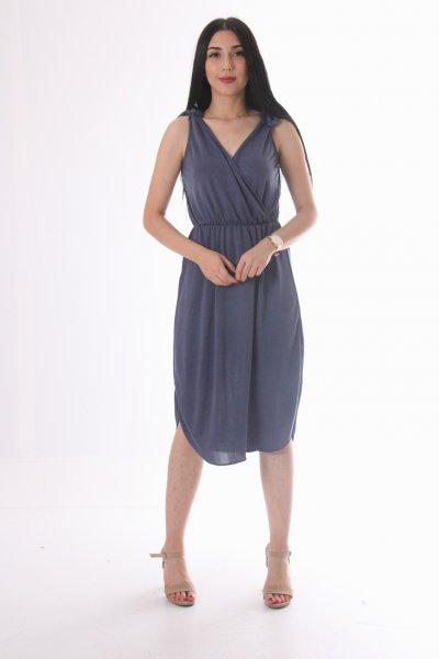 Kruvaze Yaka Omuz Bağlamalı Elbise 22762