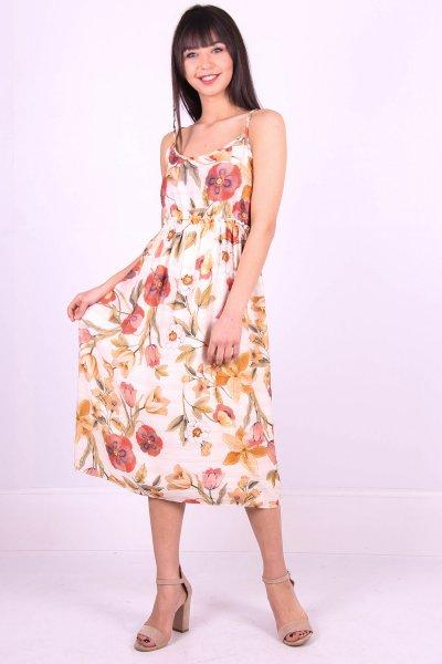 Beli Lastikli Çiçekli Elbise 22892