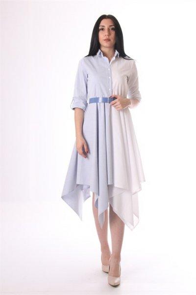 Eteği Kare Kemerli Elbise - 18-6020