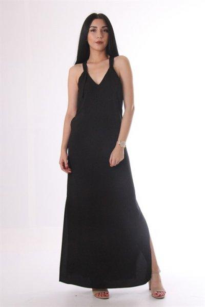 Yan Yırtmaçlı Sırt Detaylı Elbise 1133