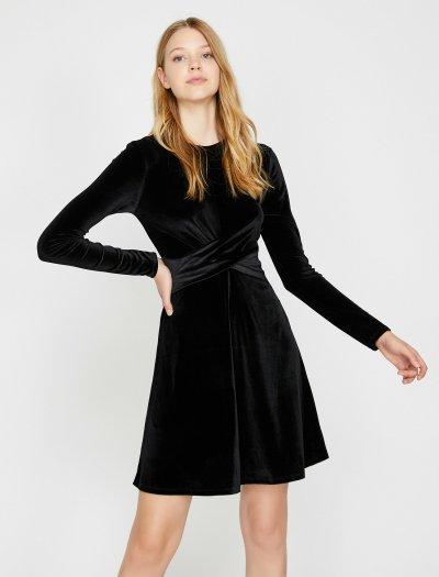 Koton Büzgülü Kadife Elbise 0kak83216ek