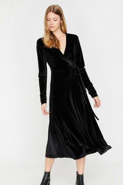 Koton Bel Bağlamalı Kadife Elbise 0kak83337ek