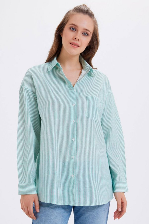 Loft Yeşil Regular Fit Kadın Gömlek Lf2020014