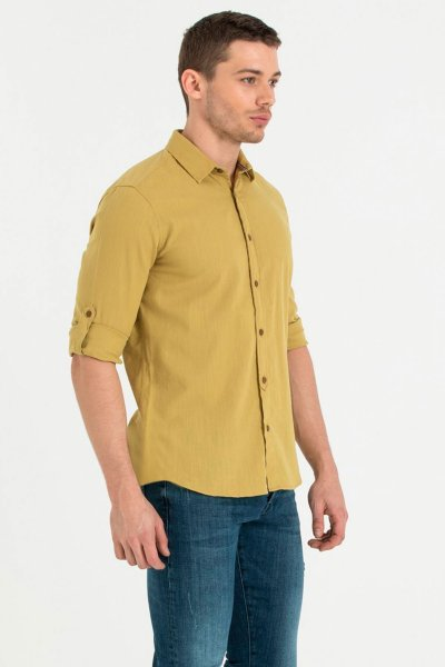 Loft Kirli Sarı Erkek Gömlek Lf2010395