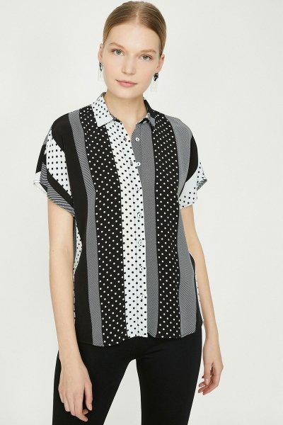 Koton Siyah Desenli Gömlek 9yak68966pw