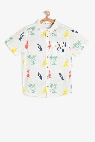 Koton Beyaz Desenli Gömlek 9ykb66254tw