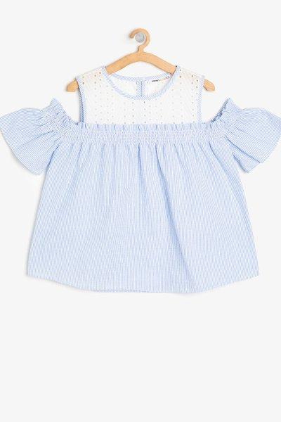 Koton Mavi Çizgili Bluz 9ykg67705ow