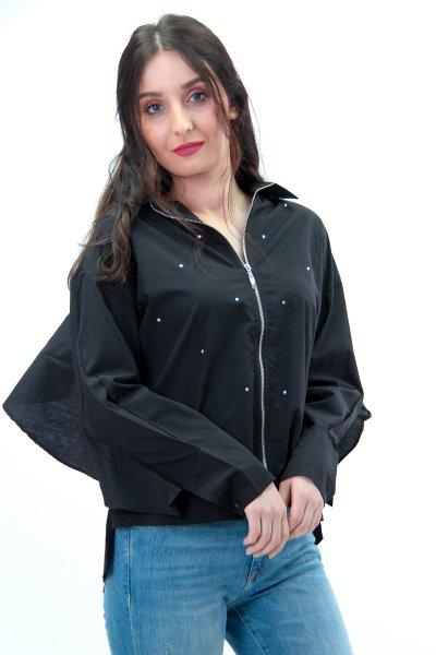 Önü Taş Detaylı Fermuarlı Gömlek 22266